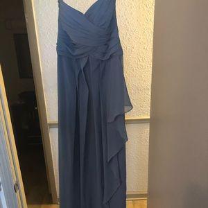 David's Bridal Strapless Dress (Steel Blue Size 2)